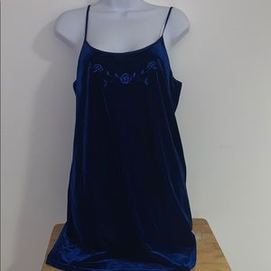 Blue Velvet Flower Slip Dress